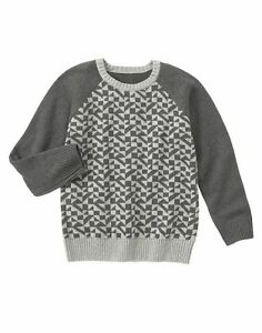 Gymboree Boys 4 5 KING OF COOL Gray Geo Print Color Block Crew Pullover Sweater