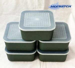 MDI Match 2.2 Pt Fishing Green Maggot Bait Boxes + Lids Pack of 5