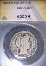 1898-S Barber Half Dollar, ANACS-GOOD 6, Issue free