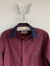 mens vivienne westwood Red Navy Check Shirt Detachble Collar And Cuffs