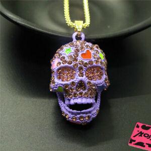Betsey Johnson Purple Rhinestone Cute Enamel Love Skull Pendant Chain Necklace