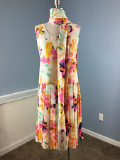 Feraud 3 piece Skirt Dress outfit Scarf Excellent Floral Silk Cocktail career S