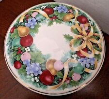 Trinket Candy Dish Covered Mikasa Christmas Bouquet Fruits Ribbons Round VGUC