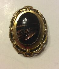 Vintage Signed ORIGINAL BY ROBERT Black Gold Swirl CABOCHON Gold BROOCH Pendant