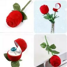 ZO CA Rose With Branch Wedding Ring Earring Pendant Jewelry Display Gift Box Red