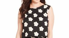 Soprano Womans Crop Top Sz 1X Black Ivory Floral Sleeveless Cropped Blouse