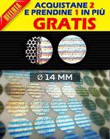 405 SIGILLI OLOGRAMMI ETICHETTE ADESIVE BOLLINI DI GARANZIA e SICUREZZA Ø 14 MM
