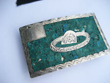 Vintage Taxco Mexico 925 Sterling Silver Engraved Turquoise Cowboy Belt Buckle
