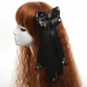 Steampunk Hair Clip Bowtie Gothic Party Dress Bowknot Gear Chain Vintage Black