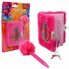 New Dream Works Trolls Movie Plush Diary with Lock and Fuzzy Pen