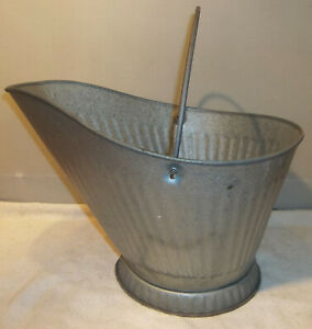 Vintage NOS Galvanized Metal Coal Bucket Hod Scuttle New Old Store Stock