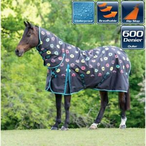 Bridleway Donuts Ontario Medium Weight  220g Full Neck Combo Horse Turnout Rug