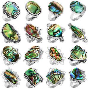 Abalone Shall Gemstone 925 Sterling Silver Plated 5pcs Lot Rings BW-793