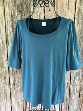 Peruvian Connection Shirt Blouse L Teal Solid Boatneck Pima Cotton