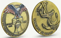 LIBERTY Bell Antique Bronze Coin Anchor Bird Snake 3D Antique Gold Lustre Old US