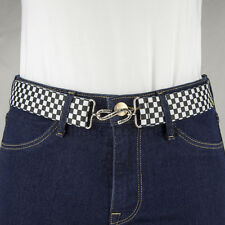 Black and White Chequered Checkerboard Elastic snake BELT Flat Buckle Handmade I