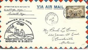 First Canadian Airmail Flight Wadhope - Bissett Feb 15 1933 AAMC#542b