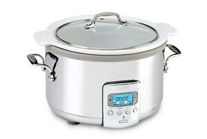 All-Clad SD710D51 4-Quart Slow Cooker with White Ceramic Insert & Glass Lid NDB!