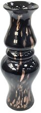 33cm Tall Bubble Black Glass Flower Vase With Copper Design
