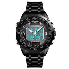 Black Plain Mens Digital Solar Sport Watch Waterproof Backlight Wristwatch Metal
