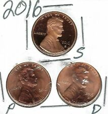 2016-D-P-S Three Uncirculated Cent Coins; San Francisco is from a Proof Set!