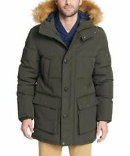 TOMMY HILFIGER Men's Long Parka With Faux-Fur Hood in Forest Green M