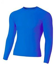 A4 Men's Compression Crew Long Sleeve, Royal, XX-Large