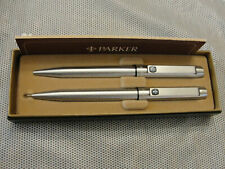 Parker 25 Stainless Steel Black Logo Ballpoint Pen & Pencil New In Box England