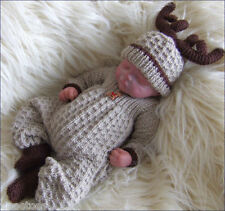 DK Knitting Pattern 13 TO KNIT Newborn Baby or Reborn Dolls Christmas Outfit
