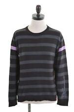 LEVI'S Womens Crew Neck Jumper Sweater Size 12 Medium Black Stripes Cotton