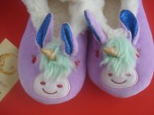 WOMENS UNICORN  SLIPPERS PLUSH FURY RUBBER HARD SOLE MEDIUM NEW