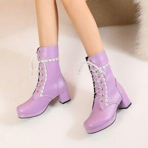 Women's Two Tone Lace Trim Lace Up Lolita Block Heel Ankle Boots Cos Shoes SKGB
