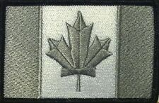 CANADA Flag Iron-On Morale Patch Gray & White Version, Black Border #21