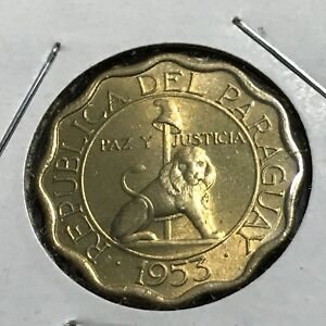 1953 PARAGUAY 15 CENTIMOS BRILLIANT UNCIRCULATED COIN