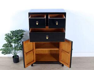 chinesische Kommode Sideboard 3 Schubladen 2 Türen schwarz #M-KOM-Yf07