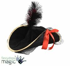 *Ladies Deluxe Pirate Hat With Feather Fancy Dress Accessory Buccaneer Captain*