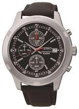 Seiko sks421p2 100m Lederband Chronograph Stoppuhr Datum Watch RRP £ 199