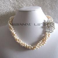 """18"""" 5-6mm 3Row Twist White Freshwater Pearl Necklace X2710W U"""
