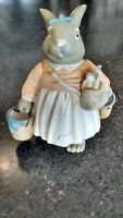 Adorable Porcelain Easter Bunny Figurine with Pails -  4.25 inch