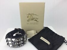 Burberry Prorsum Black Leather Tiled Cuff Bracelet NEW