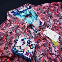 Robert Graham Geometric Abstract Bold Print Vibrant Pink 3XL Sport Shirt
