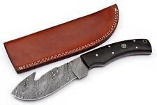 Custom Twist Damascus Steel FULL TANG Gut Hook Hunting Knife Z6 Micarta Handle