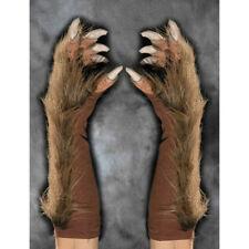 REALISTIC BROWN Werewolf Gloves Unisex Adult Mens Faux Fur Hands Claws Were Wolf