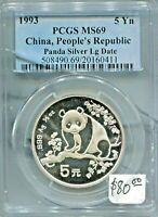 CHINA - SPECTACULAR 1/2 OZ SILVER PANDA 5 YUAN, 1993 (LG DATE) PCGS GRADED MS69
