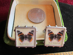 Handmade OOAK Unisex Red Admiral Butterfly Resin Pictures Pewter Metal Cufflinks