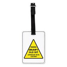 Advertencia Grumpy Old Git Amarillo visual Etiqueta Del Equipaje Maleta Bolsa-Papá Padres Día