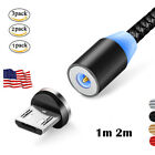 1/2/3Pack Magnetic LED Micro USB Cable For Samsung LG Type C Charger Adapter Lot