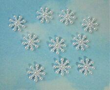 Snowflake resin cabochon x 10, flat back, Christmas, white