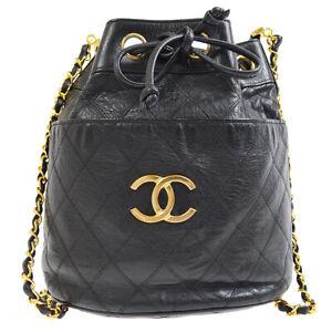 CHANEL Quilted Bicolore Drawstring Shoulder Bag Purse Black 0849104 kx NR14016e