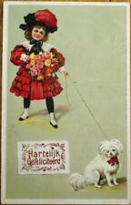 Dog & Little Girl w/Flowers 1910 Embossed, Color Litho Postcard